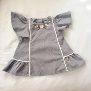 Tahari Baby Girl Embroidered Grey Dress 12M